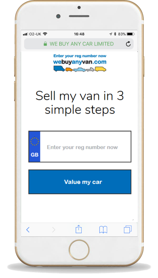 phone screen with van valuation VRM